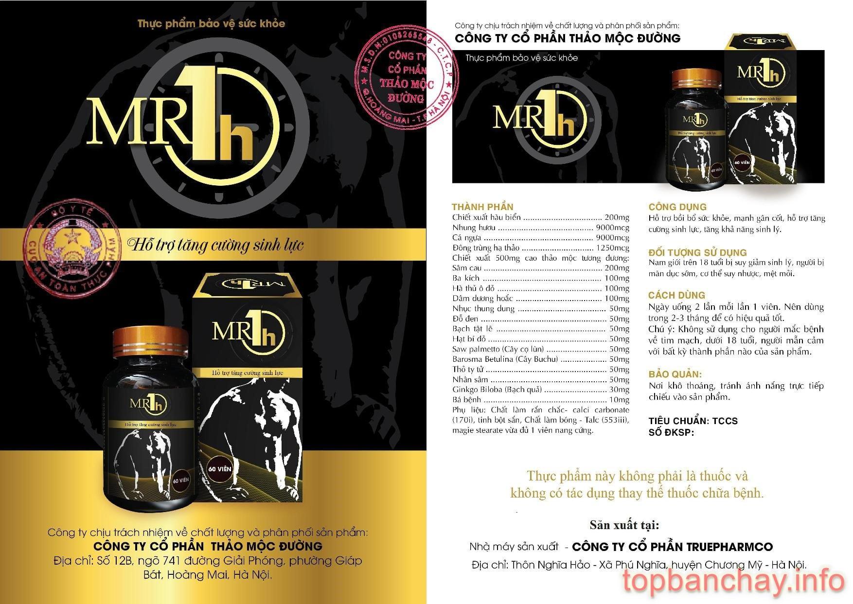 Thông tin trên vỏ hộp Mr 1h được đăng ký lưu hành