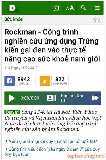 báo dân trí đưa tin về rockman-min