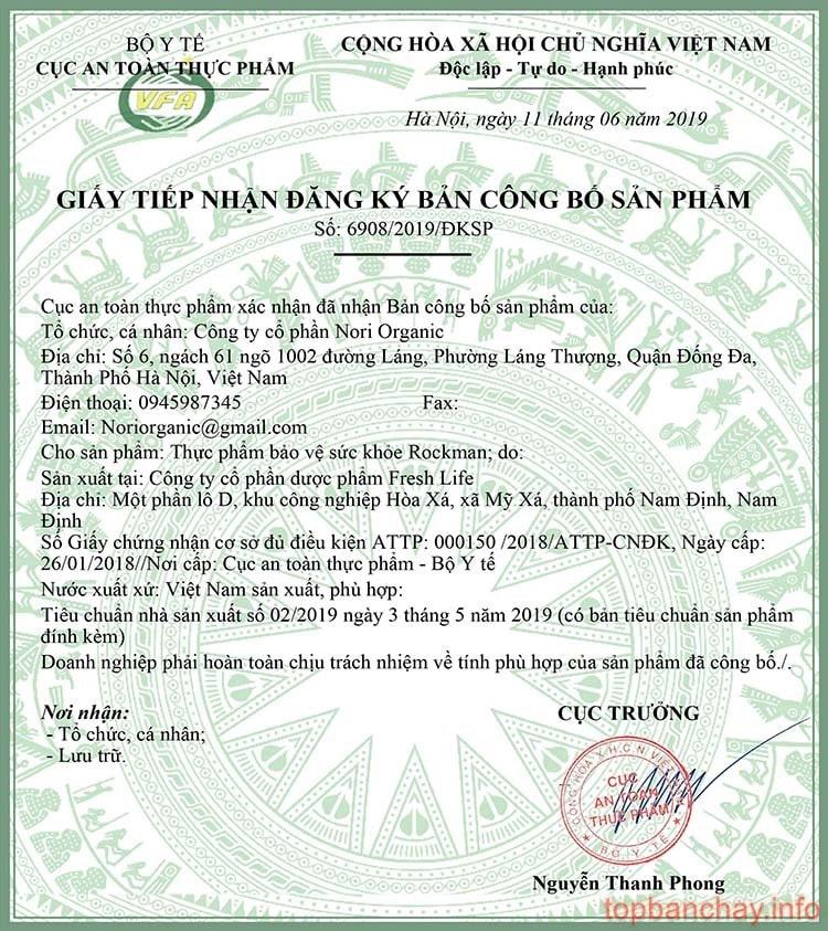 giấy chứng nhận công bố sản phẩm