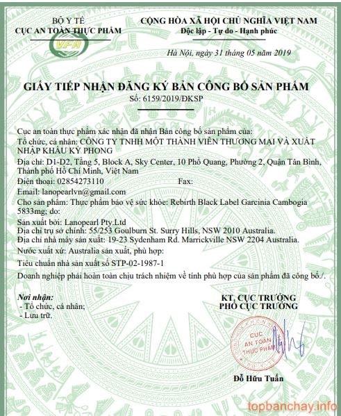 giấy chứng nhận Garcinia-min