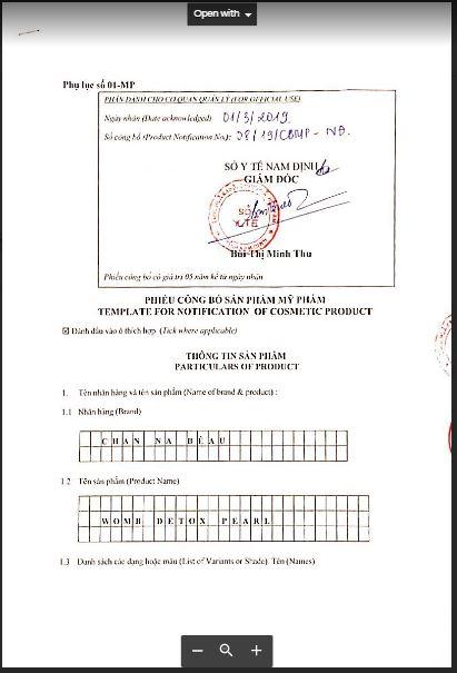 giấy công bố sản phẩm CHANNA BEAU