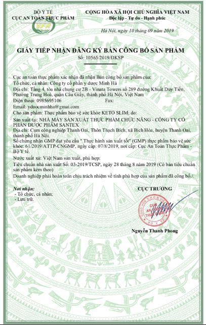 giấy công bố sản phẩm keto slim