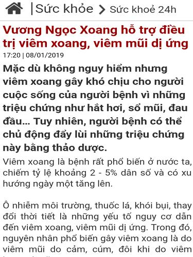 báo vietnamnet đưa tin về vương ngọc xoang