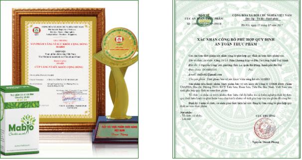 danh hiệu và chứng nhận của sản phẩm mabio