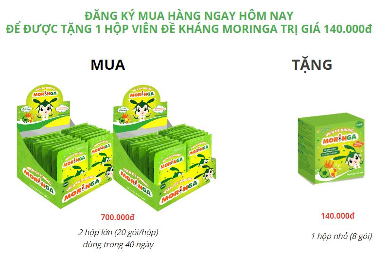 viên đề kháng moringa giá bao nhiêu