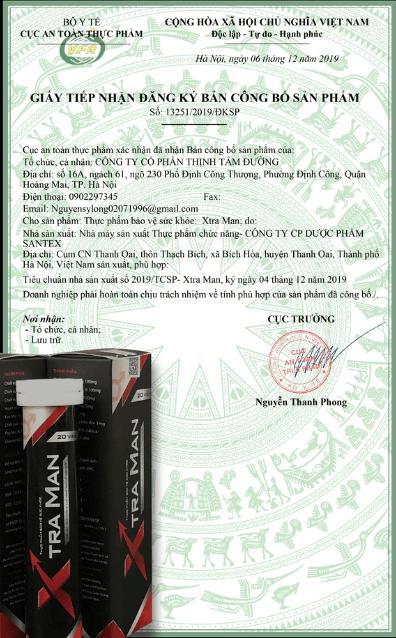 giấy công bố sản phẩm xtraman