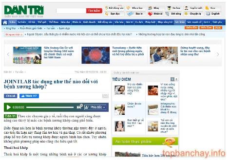 báo dân trí đưa tin về xương khớp jointlab