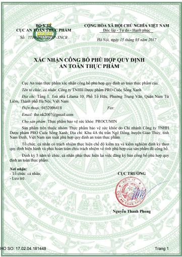 giấy công bố sản phẩm procumin