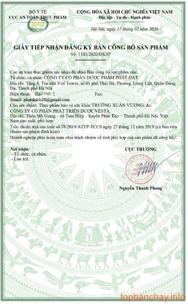 giấy công bố sản phẩm trường xuân vương