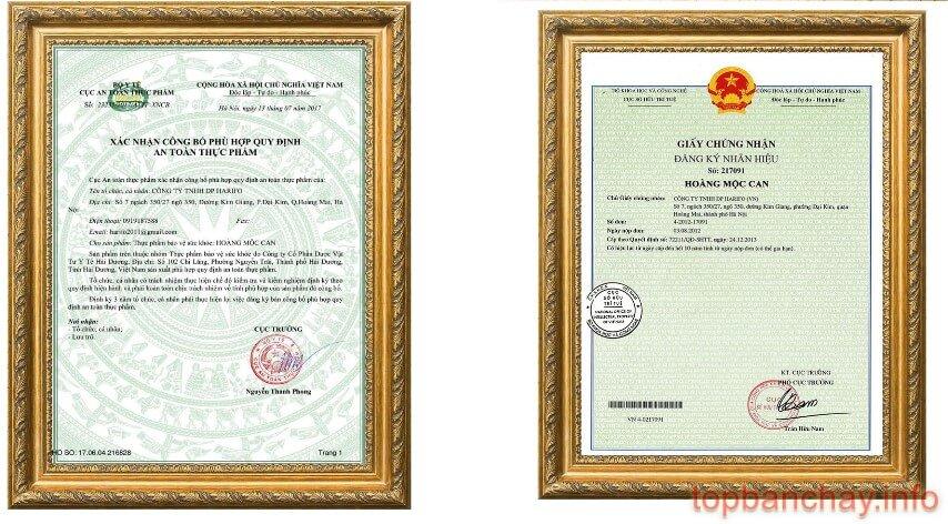 giấy công bố và giấy chứng nhận sản phẩm