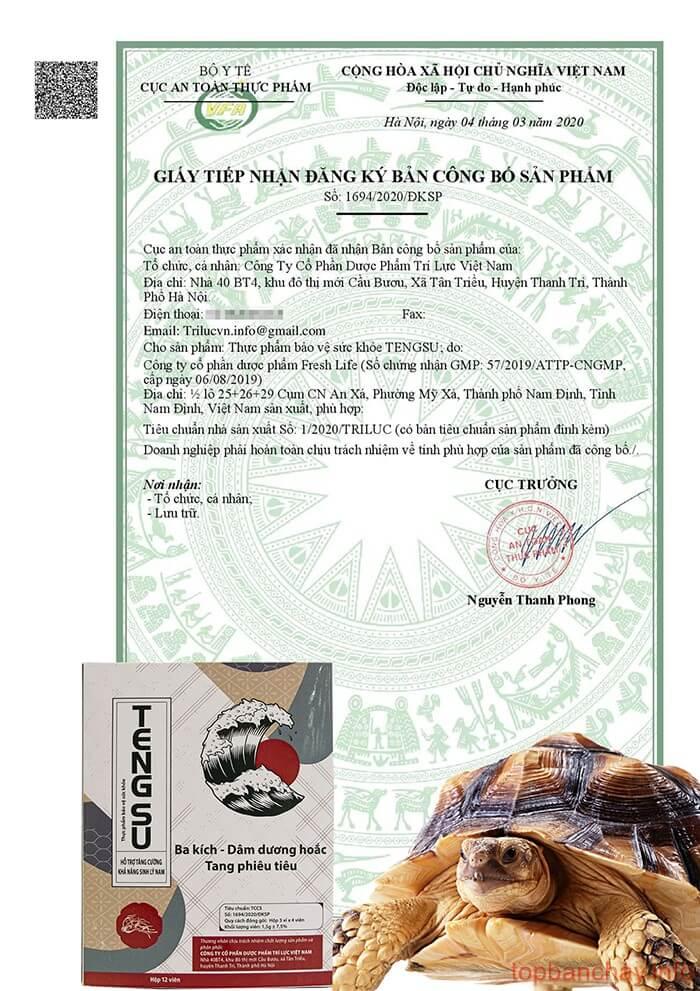 giấy cống bố sản phẩm viên ngậm tengsu
