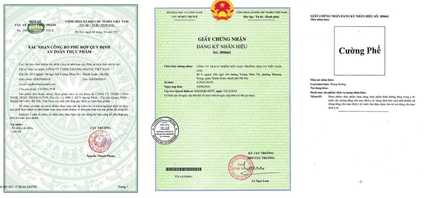 giấy chứng nhận cao lỏng trị ho cường phế