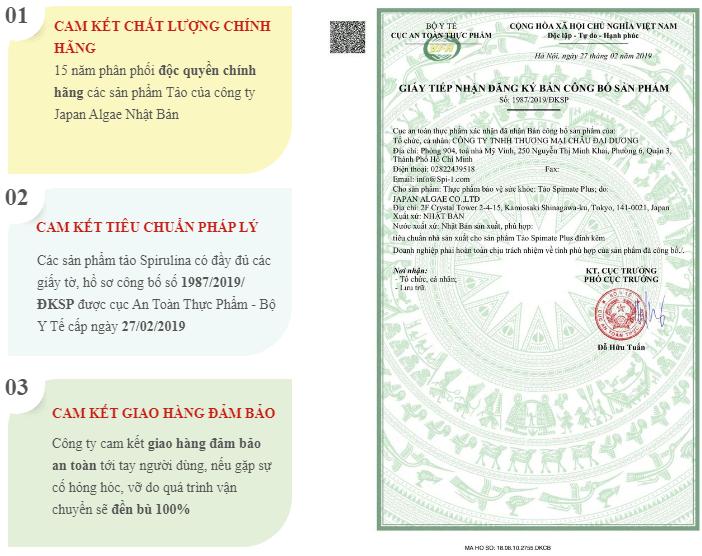 giấy chứng nhận và cam kết của sản phẩm tảo nhật
