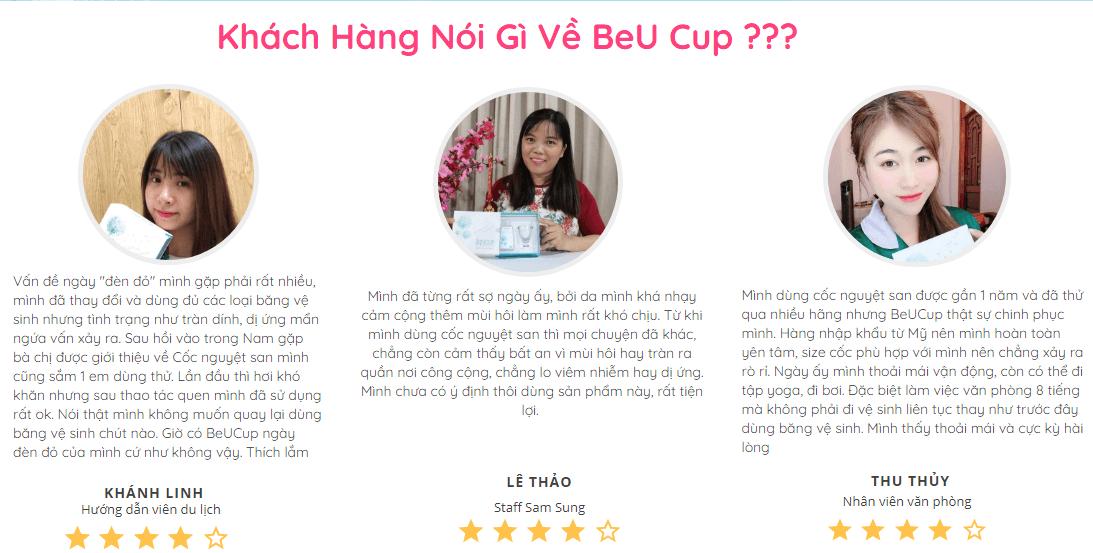 khách hàng nhận xét về cốc nguyệt san beu cup