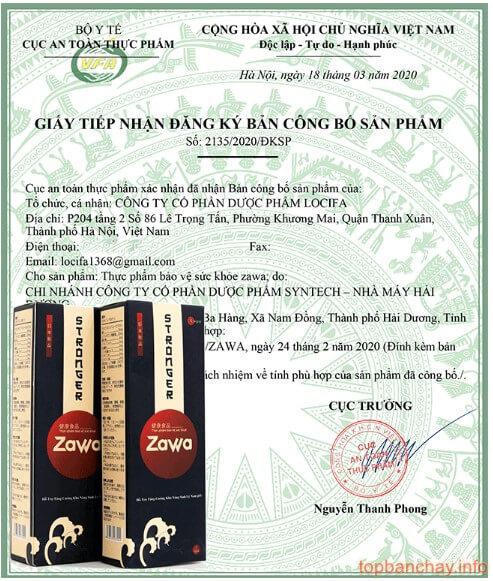 giấy công bố sản phẩm zawa