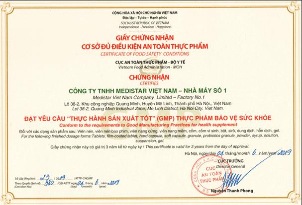 giấy chứng nhận cơ sở đủ điều ATVSTP