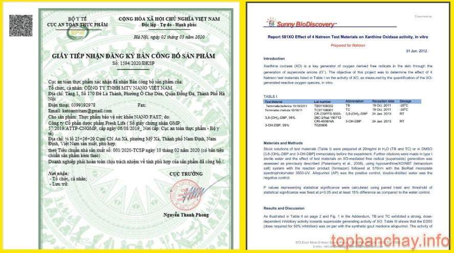 giấy chứng nhận chất lượng và giấy công bố sản phẩm nano fast