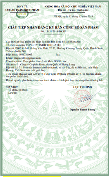 giấy công bố sản phẩm goga