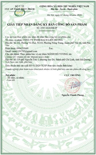 giấy công bố sản phẩm mãnh hổ vương