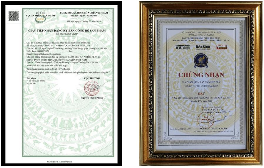 giấy công bố và chứng nhận sản phẩm an nhiên