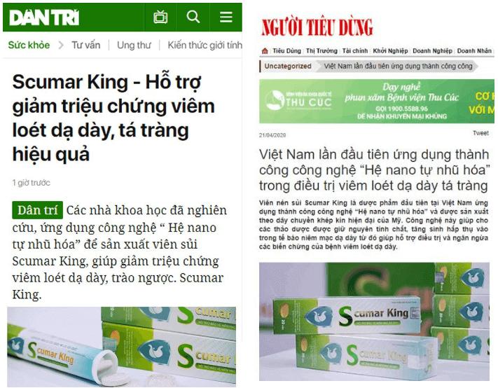báo chí đưa tin về sản phẩm scumar king