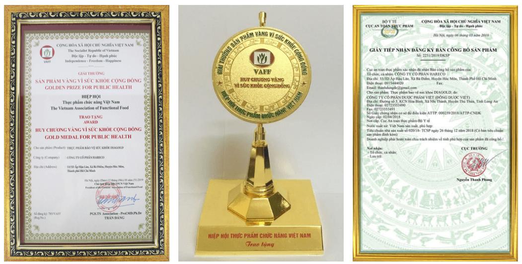chứng nhận và giải thưởng của diagold