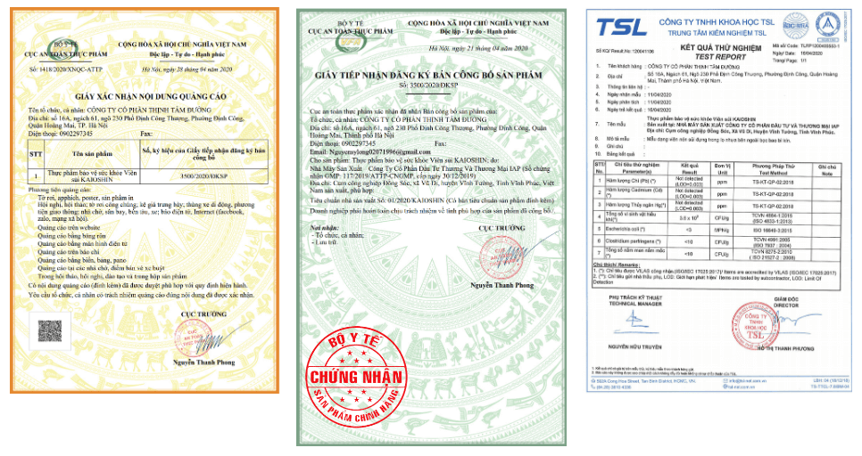giấy kiểm nghiệm và công bố sản phẩm
