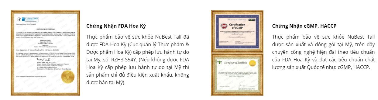 chứng nhận của sản phẩm nubest tall