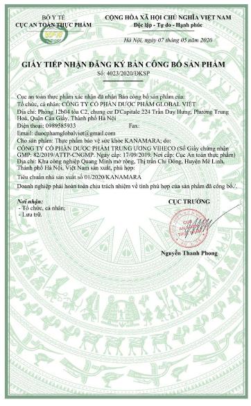 giấy công bố sản phẩm kanamara