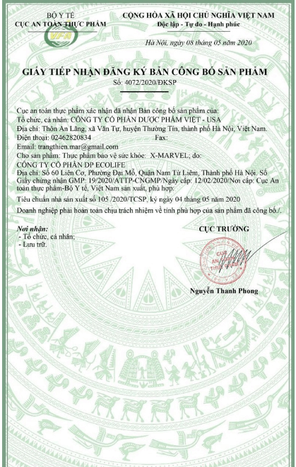 giấy công bố sản phẩm x-marvel