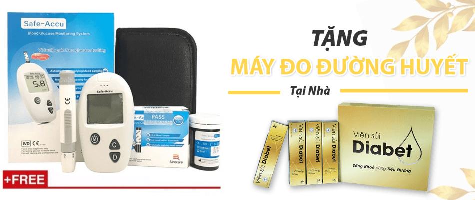 tăng máy đo đường huyết khi mua 8 hộp Diabet