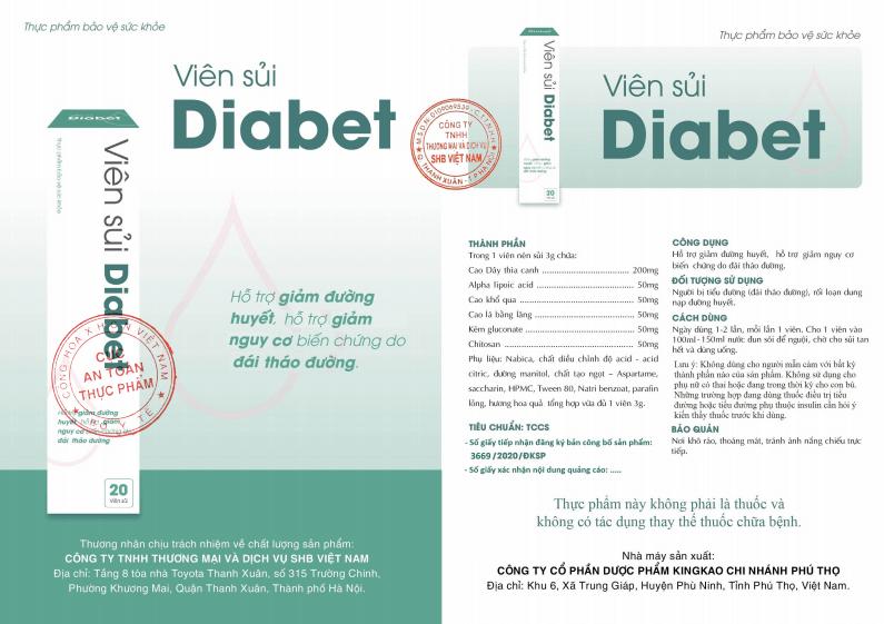 thông tin chính thức về viên sủi tiểu đường Diabet