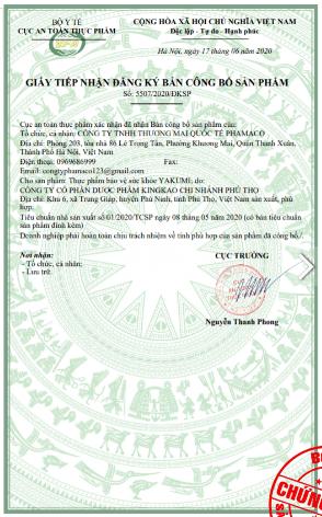 giấy công bố sản phẩm yakumi