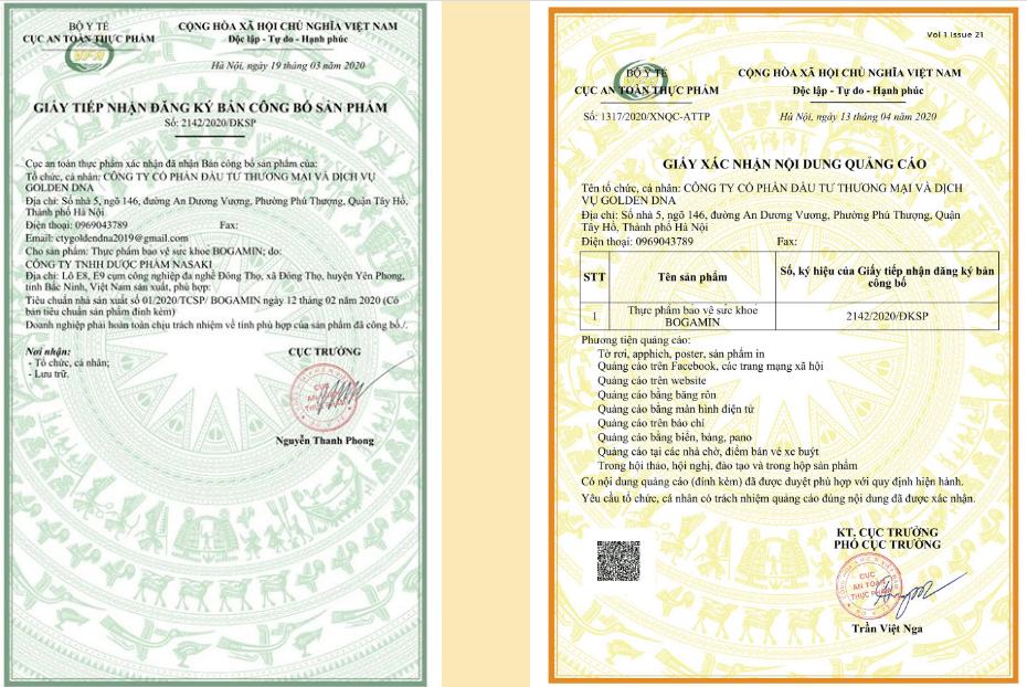giấy chứng nhận bogamin
