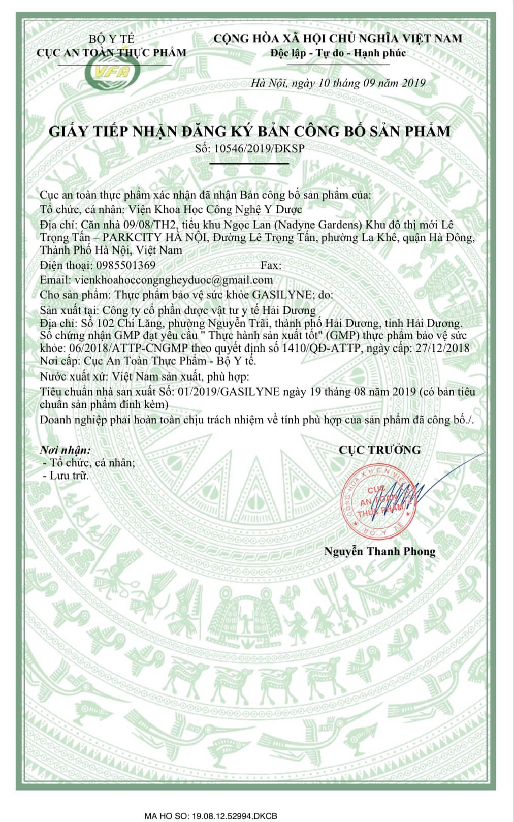 Gasilyne - giấy công bố sản phẩm