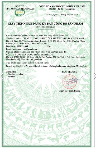 giấy công bố sản phẩm ogamax