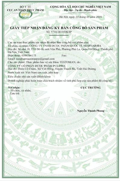giấy công bố sản phẩm testoman