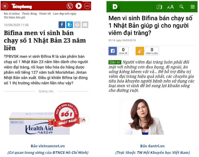 báo chí đưa tin về men vi sinh bifina