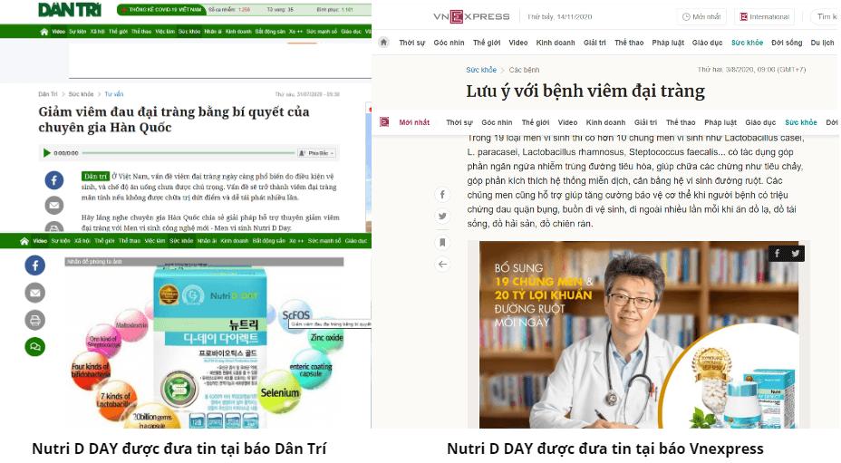 báo chí đưa tin về men vi sinh nutri d-day