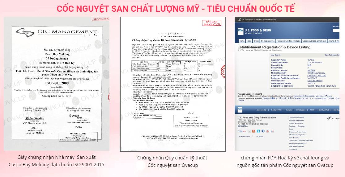 giấy chứng nhận của cốc nguyệt san ova