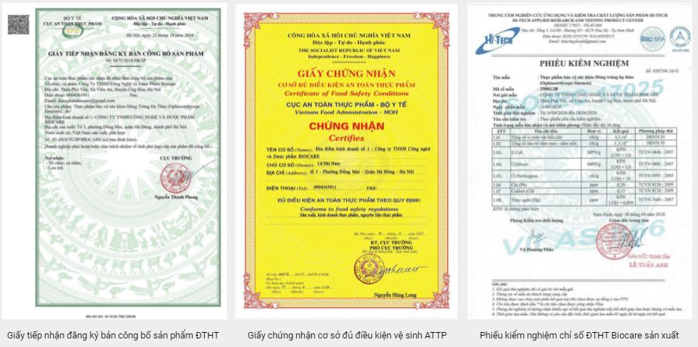 giấy chứng nhận của đông trùng hạ thảo hệ sợi biocare