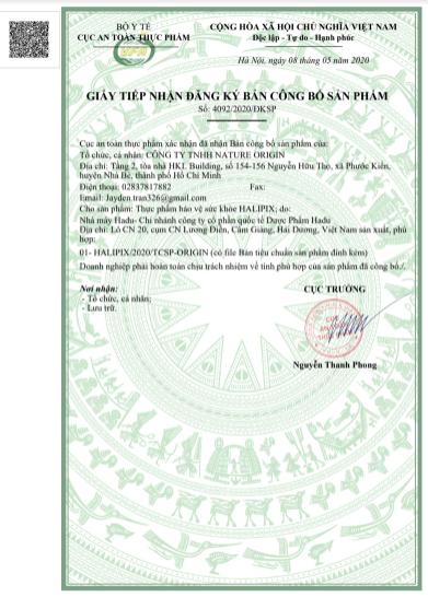 giấy công bố sản phẩm halipix