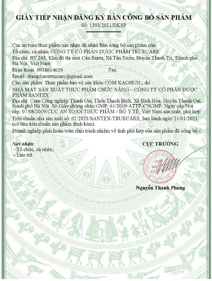 giấy công bố sản phẩm Kaohun