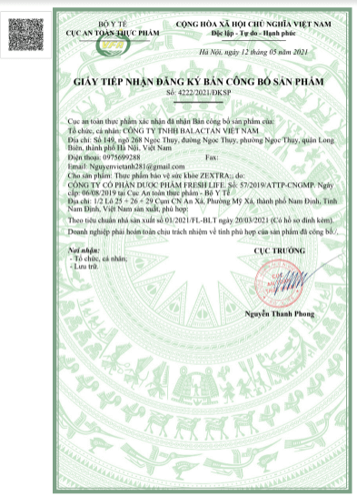giấy công bố sản phẩm zextra