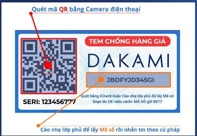 quét mã QR phân biệt kem dakami giả