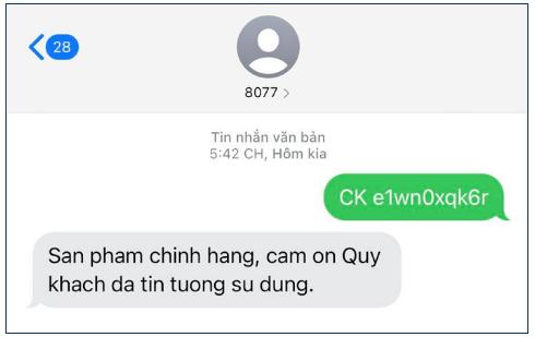 tin nhắn xác nhận kem dakami chính hãng